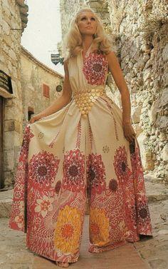 Model wearing culottes, 1970s.