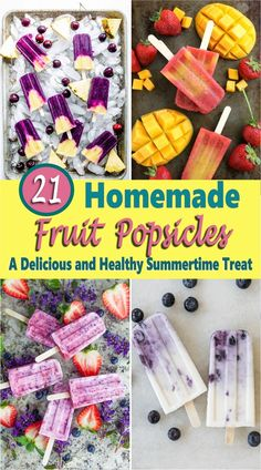 If you're looking for a refreshing sweet frozen treat on a hot summer day or just looking for a healthy snack, then these homemade fruit popsicles are a perfect idea. There are popsicle recipes for kids and adults too and what's great about making your own treats at home is that you can control the amount of sugar which is always a good thing and can be made with fresh or canned fruit. yogurt popsicles | rainbow popsicles | watermelon popsicles | berry popsicles | melon popsicles #recipe