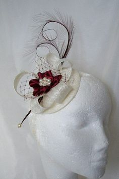 Ivory & Burgundy Wine Isadora Fascinator Mini Hat Curl Feathers and Pearls - Made To Order