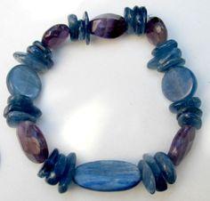 "Pretty Kyanite Natural Faceted Amethyst Stretchy Healing Bracelet 4-20mm 7"" #Handmade #Beaded"