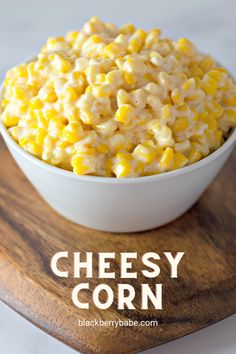 Creamy, cheesy corn baked in the oven! Easy to make and ready in an hour. Cream Cheese Corn Casserole | Cheesy Corn Bake | Baked Corn | Cream Corn Casserole #corn Easy Vegetable Recipes, Corn Recipes, Cheese Recipes, Side Dish Recipes, Cheesy Corn Bake Recipe, Baked Corn Casserole, Oven Baked Corn, Corn In The Oven