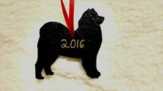 Homemade 2016 Samoyed ornament- black silhouette with gold writing Red ribbon tie