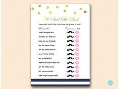Navy Stripes and Gold Bridal Shower Game Bridal Shower he #babyshowerideas4u #birthdayparty  #babyshowerdecorations  #bridalshower  #bridalshowerideas #babyshowergames #bridalshowergame  #bridalshowerfavors  #bridalshowercakes  #babyshowerfavors  #babyshowercakes