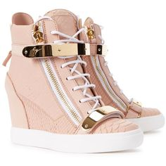 Womens Wedge Trainers Giuseppe Zanotti Lorenz Donna Rose Wedge Hi-top... (3.465 BRL) ❤ liked on Polyvore featuring shoes, sneakers, high top velcro sneakers, velcro wedge sneakers, velcro sneakers, wedges shoes and hi top wedge sneakers