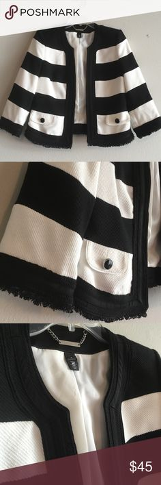 WHBM Striped Woven Dressy Collarless Jacket Blazer A White House Black Market statement piece that demands a classy, elegant look. Dress it up or down, either way it's eye catching! Black and white color blocking stripes woven with fringe hems, shiny button details and fully lined for a comfortable wear. In excellent condition! White House Black Market Jackets & Coats Blazers