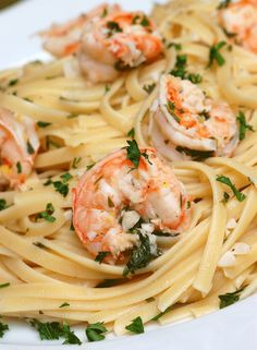 Ingredients: 6 garlic cloves, pressed or grated 2 lemons, zested and juiced 5 tablespoons olive oil 1 teaspoon red pepper flakes Kosher salt and freshly ground black pepper pound medium shrimp to peeled, deveined and butterflied (reserve shell Fish Recipes, Seafood Recipes, Pasta Recipes, Great Recipes, Cooking Recipes, Favorite Recipes, Healthy Recipes, Recipies, Veggie Recipes