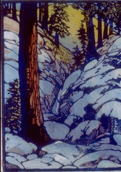 Winter Lingers, 1930 by Frances Hammell Gearhart (b. 1869-1958), Californian artist (occasionally taught by Charles H. Woodbury) known for her colour woodcuts of the Sierras, the Pacific Coast, and the area around Big Bear Lake. She described sentinel trees, groves of eucalyptus, pines, oaks and Monterey cypress as well as valleys and canyons. http://www.francesgearhart.com/ Tags: Snow, Helen Elstone, Trees