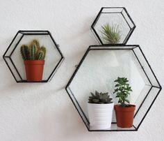 Varro Hexagon Glass Wall Display Shelf by MontibyMonti on Etsy Glass Wall Shelves, Glass Shelves Kitchen, Plant Shelves, Display Shelves, Display Cabinets, Cool Shelves, Shelves Lighting, Floating Shelves, Shelving