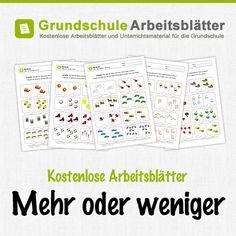 Kostenlose Arbeitsblätter und Unterrichtsmaterial zum Thema Mehr oder Weniger für die Vorschule.