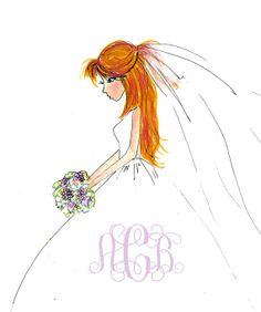 Custom hand made original design  bride thank by JaneLazenbyartist, $27.50