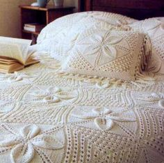 Instant PDF Download Vintage Knitting Pattern Granny Square Blanket Afghan Throw Bedspread Counterpane Cushion or Pillow for Baby or Bedroom