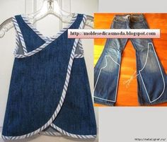 Wonderful Ideas and Tutorials to Refashion Your Old Jeans Upcycle jeans into an art smock or day apron.Upcycle jeans into an art smock or day apron. Fashion Kids, Diy Fashion, Ideias Fashion, Sewing Aprons, Sewing Clothes, Diy Clothes, Denim Aprons, Kids Clothes Refashion, Refaçonner Jean