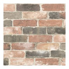 Wallpops 'Newport Brick' Reusable Peel & Stick Vinyl Wallpaper available at Brick Wallpaper Decal, Look Wallpaper, Rustic Wallpaper, Temporary Wallpaper, Wallpaper Samples, Peel And Stick Wallpaper, Adhesive Wallpaper, Stone Wallpaper, Wallpaper Backgrounds