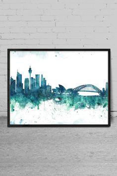 Sydney art Watercolor Art print Sydney skyline Wall by MyVisualArt Skyline Painting, Cityscape Art, Skyline Art, Watercolor City, Watercolor Projects, Watercolor Paintings, Sydney Skyline, Photography Illustration, Art N Craft