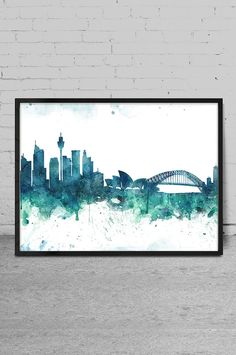Sydney art Watercolor Art print Sydney skyline Wall by MyVisualArt