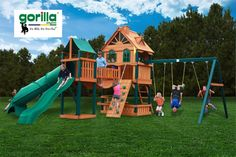 The Blue Ridge Woodbridge is a Gorilla Playsets model. A large set with 2 slides, 2 playhouses, a sandbox, 2 swings, a trapeze, a rock wall, and a clatter bridge. There's more I didn't mention too...