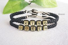 Couples Bracelets setKing and Queen by starryskyDIYhouse on Etsy