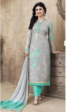 Slate Gray Color Cotton Straight Cut Style Stitched Salwar Kameez with Dupatta…