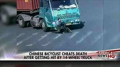 WATCH: Cyclist Cheats Death After Being Run Over by 14-Wheel Truck Cheating, Death, Trucks, Running, Keep Running, Why I Run, Jogging, Truck, Cars