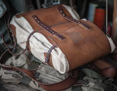 leather and canvas backpack #075
