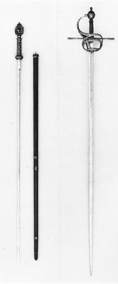 Bastón-estoque comparado con una espada ropera del mismo periodo - Alemania (Munich) - Década de 1650