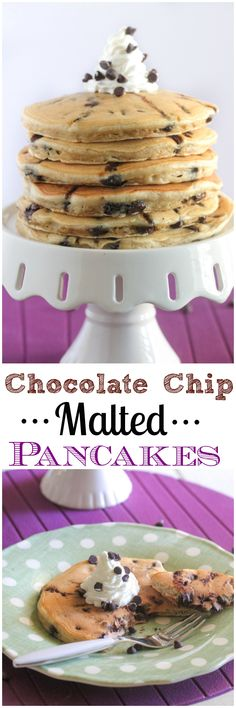 Chocolate Chip Malted Pancakes recipe, perfect pancakes every time!!  The best! #breakfast #pancakes #recipe