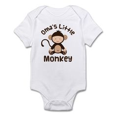 Darling grandkid gift has a happy baby monkey and Oma's Little Monkey quote. Fun gift from grandma to a special grandchild. Great for baby showers.