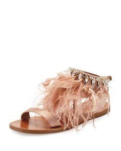 S1ABV Miu Miu Feather-Ankle Flat Sandal, Neutral