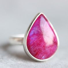 Pink Rainbow Moonstone Ring - Cabochon ring - Bezel ring - Drop ring  $70.00 #pink #moonstonering #ooakring