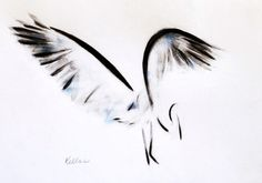 ARTFINDER: White Heron by Kellas Campbell - My ink, pastel and graphite drawing of a heron spreading its wings.    I ground up the ink from ink stick and applied it with calligraphy brushes.  I smudged...