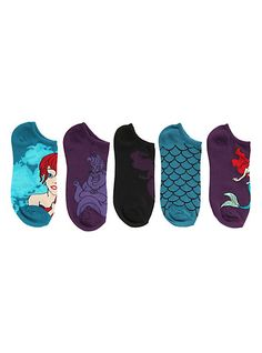Disney The Little Mermaid Scales No-Show Socks 5 Pair | Hot Topic