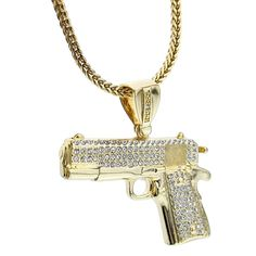 Pendant Craft Cards Hip Hop bling Tag Silver tone Sniper Rifle Gun Charms