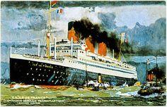 ・アーヴル海ライナーはがき再現を残しイル・ド・フランスCGTの豪華客船