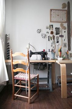 """Sneak Peek: Adrienne Antonson and Kevin Murphy. """"I treated myself to this new (antique) industrial Singer machine for my 30th birthday. I made the thread storage stand in the corner from a long sturdy stick and wire, and my husband's grandma, Nana Margie, made this chair!"""" #sneakpeek"""