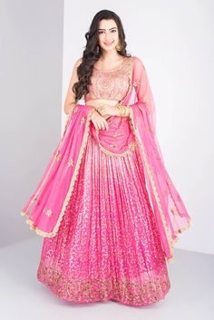 eabae20ee08e8 MISE A  JOUR BY SHILPA Ombre pink lengha with heavy sequence embroidery and  heavy Zari blouse