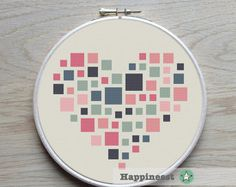 A geometric heart pattern in my personal favorite colors. This pattern is a little bit smaller than my other geometric heart pattern. https://www.etsy.com/listing/207217668/geometric-modern-cross-stitch-pattern?ref=shop_home_active_15 Choose the one you prefer! Also available as a set of 3 geometric hearts, see: https://www.etsy.com/listing/209558987/geometric-modern-cross-stitch-pattern?ref=related-0 Try different color combinatio...