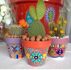 Your place to buy and sell all things handmade Mosaic Garden Art, Mosaic Flower Pots, Terracotta Flower Pots, Clay Flower Pots, Cactus Flower, Painted Plant Pots, Painted Flower Pots, Clay Art Projects, Clay Pot Crafts