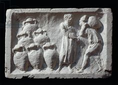 Roman civilization, bas-relief depicting Roman cellar with amphorae wine ware. Artwork-location: Rome, Museo Della Civiltà Romana (Museum Of Roman Civilisation)