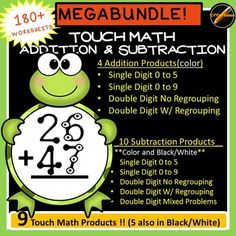 Touch Math Addition and Subtraction MEGA BUNDLE: Frog Theme