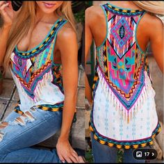 Printed top Very light material.  Brand new! Tops Tank Tops