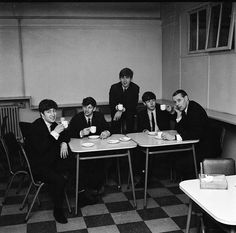 Tea break during recording of From Me To You & The One After 909 at Abbey Road with George Martin 5th March '63