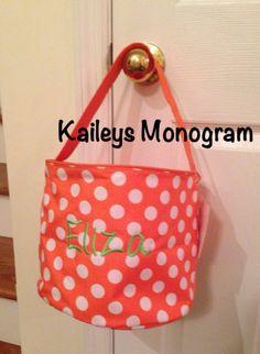 Halloween Bucket Monogrammed Bag by KaileysMonogramShop on Etsy