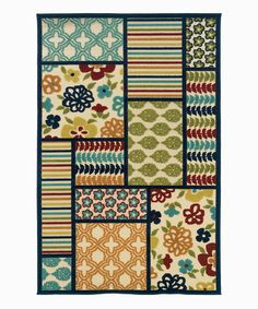 Tan  Blue Quilt Indoor/Outdoor Rug - this is cute inspiration for a basic quilt!