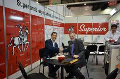 David Audrain, President & CEO, thanking Lonny Schwartz of Superior Sewing Machine & Supply for being the first exhibitor for the third year in a row to contract for the next edition of ExpoProduccion in Mexico City.