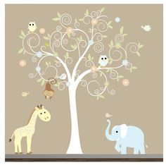 Jungle Vinyl Wall Decal with Monkeys,Animal Stickers-Nursery Wall Decals. $159.00, via Etsy.