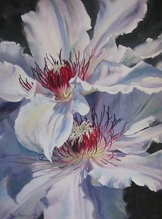 Clematis and Company by Poppy Balser Watercolor ~ 29 x 21