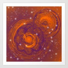 Birth of worlds in a fiery sky by Wendy Townrow, fractal, pattern, birth, world, space, sky, stars, creation, hot, digital art, modern, unique, vibrant, bold, digital design, sci-fi, orange, purple, illustration, planets, graphic design, art, digital, design, buyart, society6, decor, home decor, wall decor, wall art, print