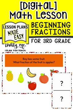 Envision downloading an easy #digital #math #lesson for your #3rdGrade or #4thGrade class… and going home early!  All the work is done for you on this #fractions lesson plan! It includes activities, games and task cards. This is Perfect for teachers that use #GoogleClassroom to teach #elementary math!   Get  kids moving around the room as they learn! Activate their body, and their brain has better retention - a win win!  For more fun guided math activities and unit plans visit ipohlyinc.com! Problem Solving Activities, Math Activities, Daily 3 Math, 3rd Grade Math Worksheets, Unit Plan, Guided Math, Math Stations, Math Facts, Elementary Math