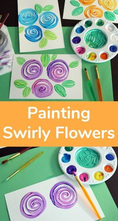 Painting swirly flowers are as simple as can be, but with frame-worthy results. We can't stop making them! I think you and your kids will have fun combining colors and creating your own uniquely beautiful swirly flowers. Easy Painting For Kids, Drawing For Kids, Diy Painting, Art For Kids, Tape Painting, Pattern Floral, Motif Floral, Spring Art, Spring Crafts
