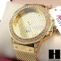 Men Techno Pave Luxury Gold PT Hip Hop Iced Out Bling Lab Diamond Watch GW197G